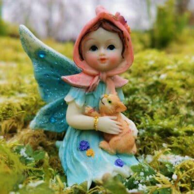 fairy and cat figurine