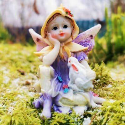 fairy and rabbit figurine