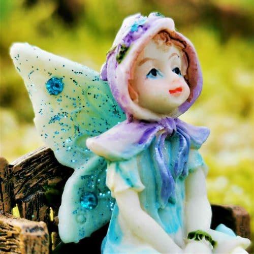 blue fairy garden ornament