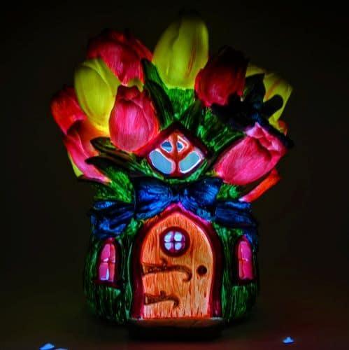 solar flower bunch fairy houseoue