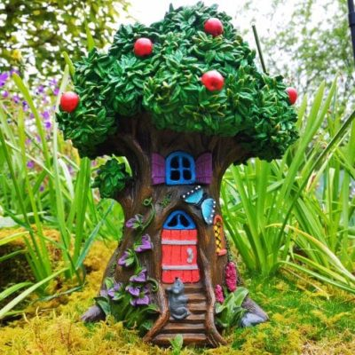 apple tree fairy house in the garden