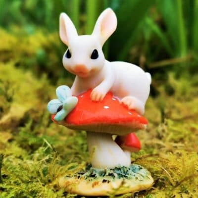 rabbit and toadstool ornament