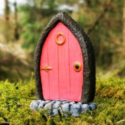 pink arched Irish fairy door