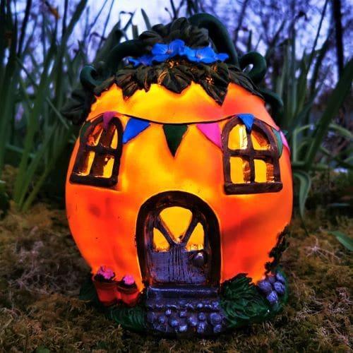solar pumpkin fairy house