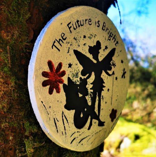 fairy plaque on tree