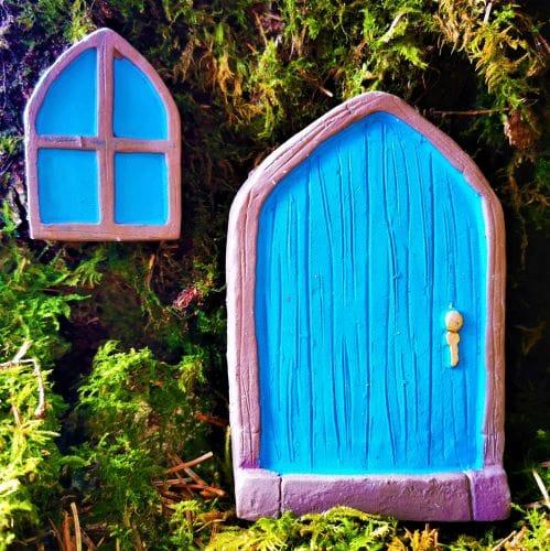 blue fairy door window set