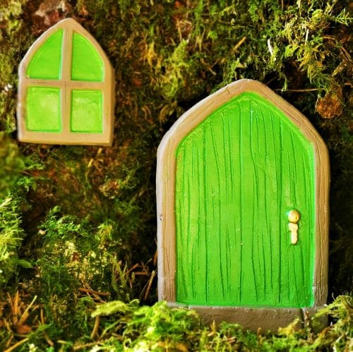 green irish fairy door window