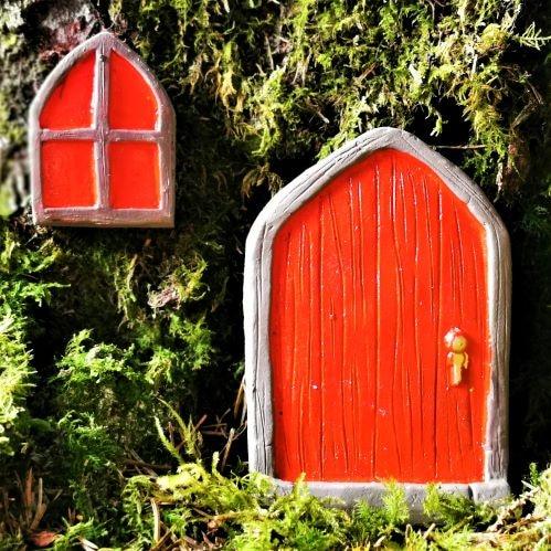 red fairy door and window