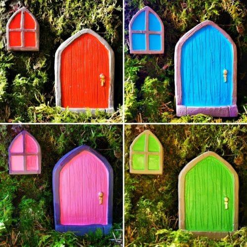 irish fairy door set with window