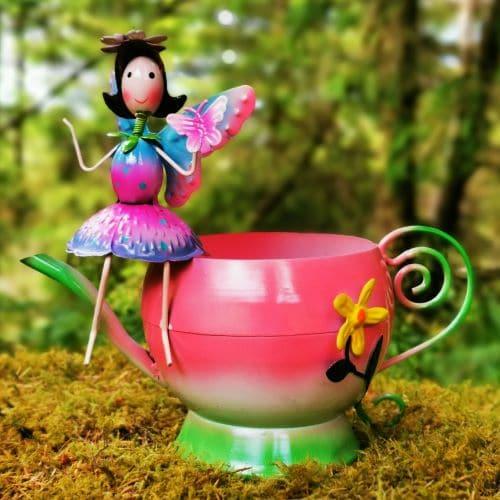 pink fairy garden planter