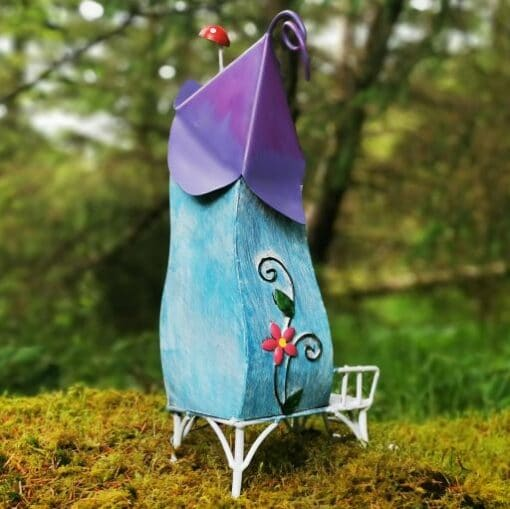 blue fairy garden house