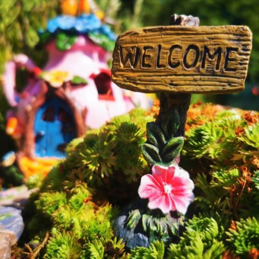 fairy garden welcome sign