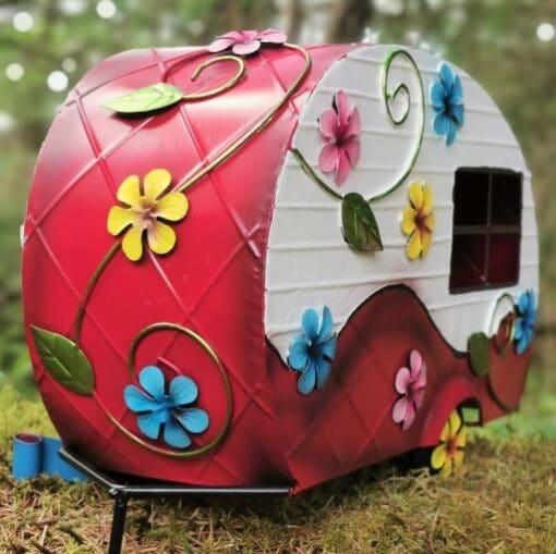 metal fairy garden caravan ornament