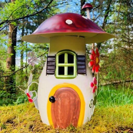 metal mushroom fairy house