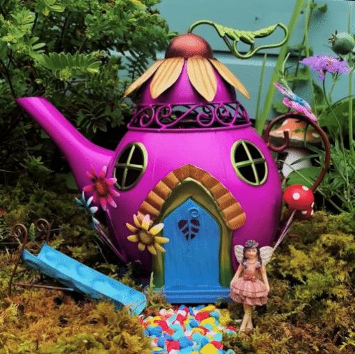 purple teapot fairy house