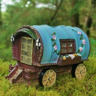 solar wagon fairy house