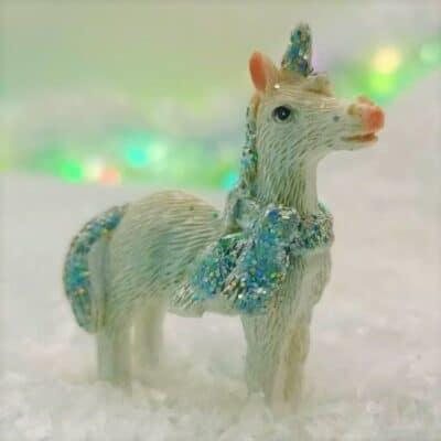 Christmas unicorn figurine